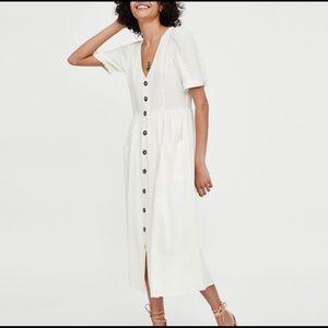 Zara midi white dress with buttons